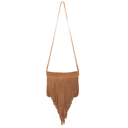 Jurgen Suede Fringe Bag in Whiskey