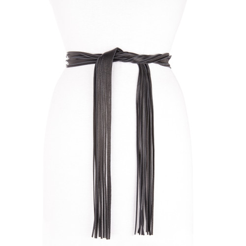 Theodora Fringe Wrap Belt in Black