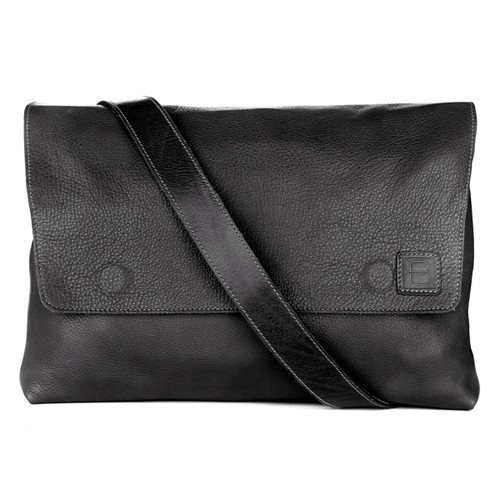 Leith Black Cervo Leather Messenger Bag