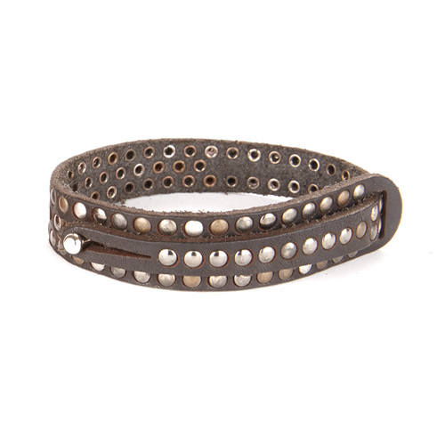 Jabilo Leather Cuff in Dark Brown