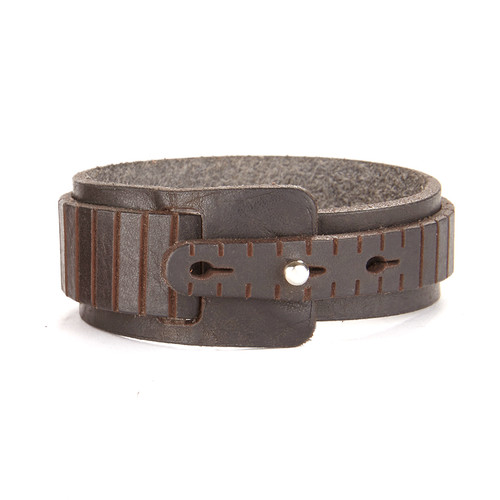 Evadne Leather Cuff in Dark Brown