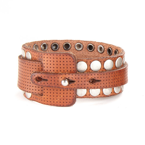 Stephanoe Leather Cuff in Brandy
