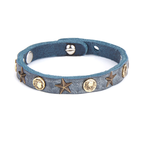 Kitts Stud & Star Leather Cuff