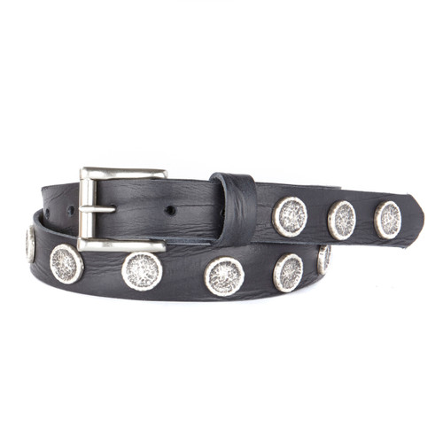 Skip Leather Denim Belt in Black