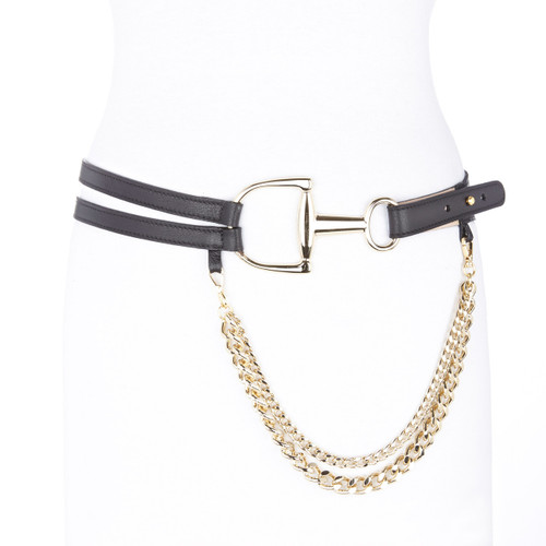 Yula leather chain belt in black & gold
