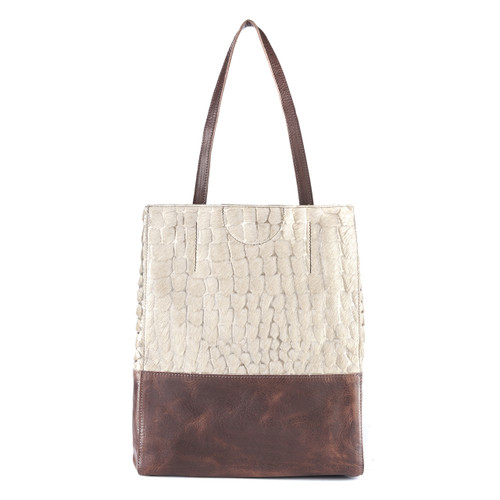 Saloso leather tote in gold palermo