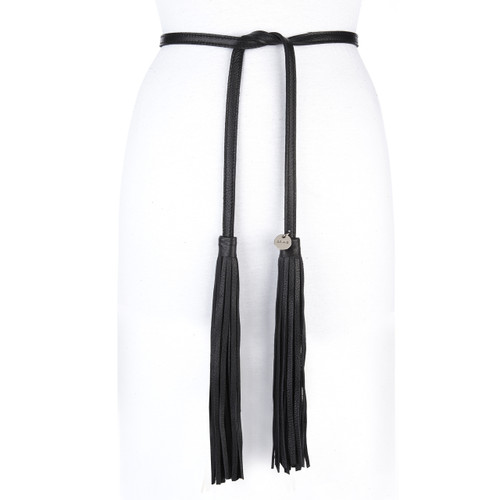 Lapo leather fringe wrap belt in black