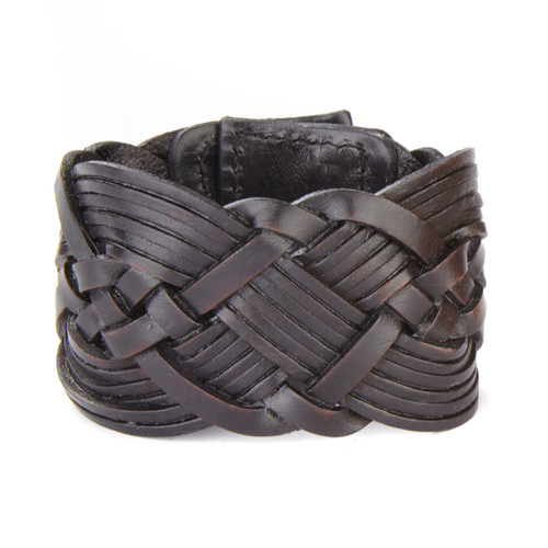 WIASS WOVEN LEATHER CUFF