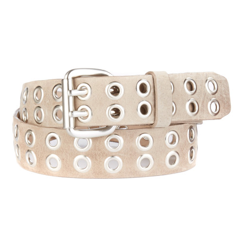 Bacca Studded Leather belt in Mushroom Newport