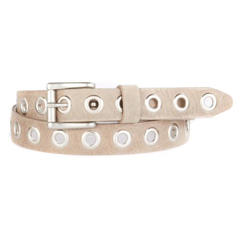 Dai Skinny Studded Leather Belt in Mushroom