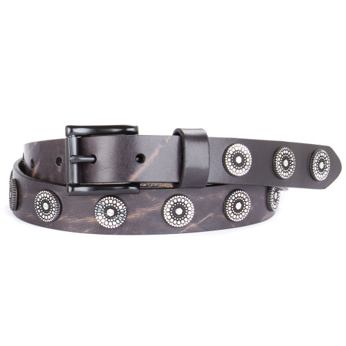 Bellsie studded leather belt in Smog