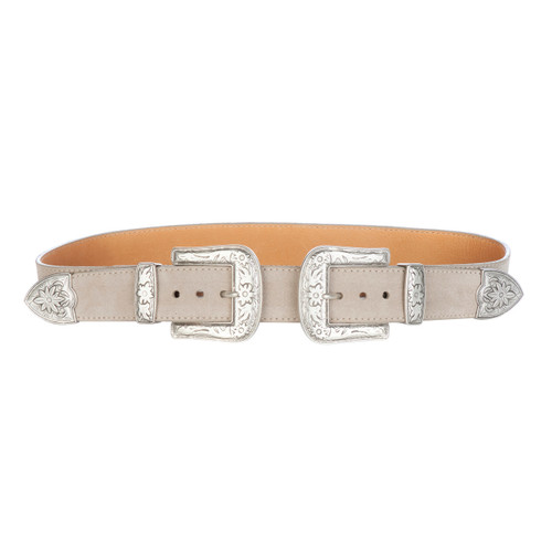Frankie double buckle belt in sand suede