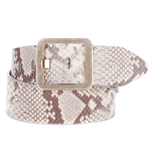 Makani Leather Belt in Taupe Snakey