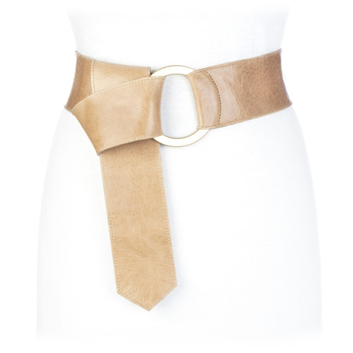 Astrid wide leather belt in nude