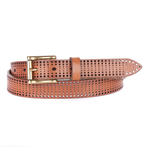 Piron Laser Cut Denim Belt in Brandy