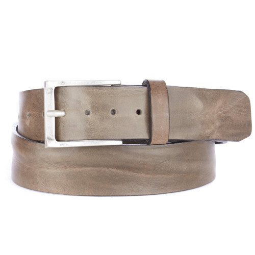 Cava Denim Leather Belt in Greystone Skrunchy