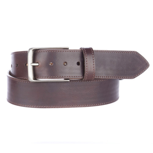 Chisomno leather belt in chocolate rugby