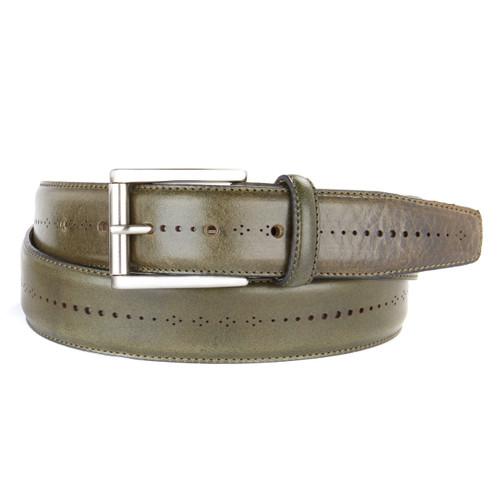 Brant Leather Belt in Olive Lux