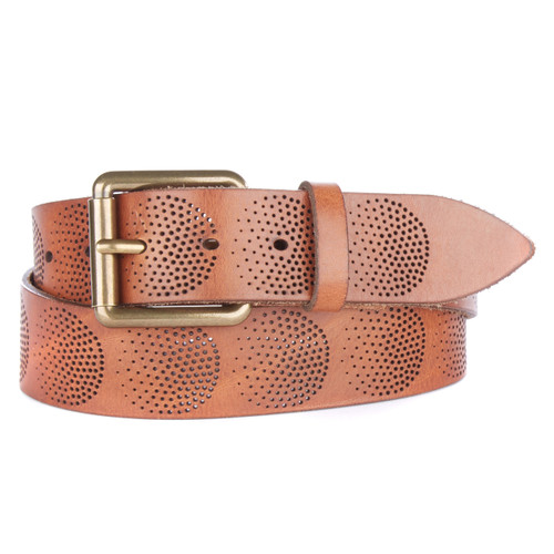 Calvagh Laser Cut Denim Belt in Brandy