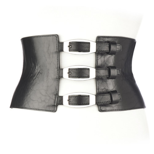 Egle Leather Buckle Corset in Black/Silver