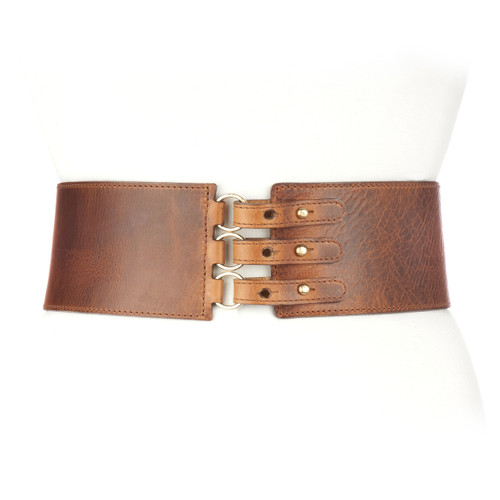 Nöl leather corset in Brandy