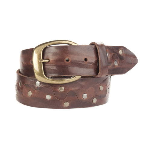 Vilte Leather Studded Belt in T-Moro