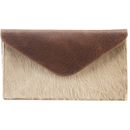 Chapa leather hair-on clutch in Camel