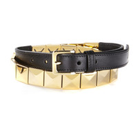 Maker Leather Belt with Stud Metal Accents in Black Croc/Gold