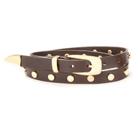 Wanamaker Leather Belt in Brown with Gold Stud Detail