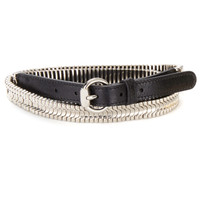 Janviere Leather Belt in Black with Silver accent