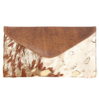 Chapa Leather Hair-on Clutch in Gold