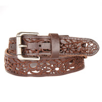 Kyla Laser Cut Leather Belt in Chocolate