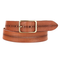 Buck Laser Cut Leather Belt in Whiskey
