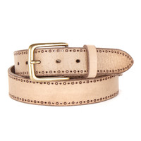 Monico laser cut leather belt in taupe.