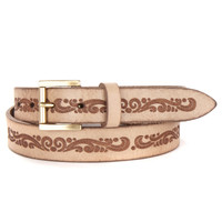 EMMA LASER CUT BELT IN TAUPE