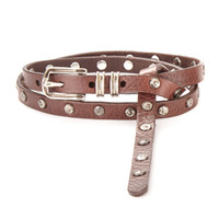 Campenni Leather Skinny Belt in Chestnut