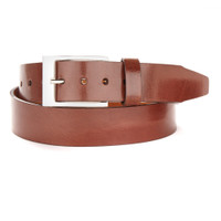 Amos Leather Dress Belt in Brown Lux