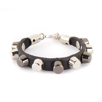 KAIF LEATHER CUFF WITH STUD ACCENTS
