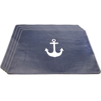 Leather Anchor Placemats, Set of 4
