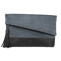Dentali buffalo leather clutch in blue