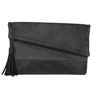 Dentali buffalo leather clutch in charcoal