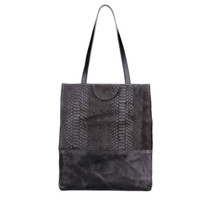 Saloso hairy snake print leather tote in black