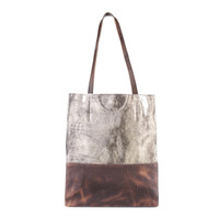 SALOSO LEATHER TOTE IN ANTIQUE GOLD