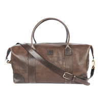 BRIDGEWATER LEATHER WEEKEND BAG IN MARONE SALVAGE