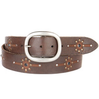 BEN LEATHER BELT IN CHOCOLATE