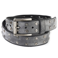Bion Studded Leather Belt in Thundercloud