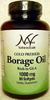 NutriVera Nutraceuticals Borage Oil Cold Pressed 1000mg - 90 Softgels