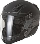 Fly Racing Tourist Vista Open Face Helmet Md Flat Black/Silver F73-8107-3
