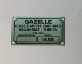 "Badge, Identification Plaque ""Classic Motor Carriages"" Gazelle"