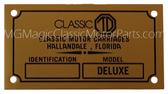 "Badge, Identification Plaque ""Classic Motor Carriages"" Classic TD"